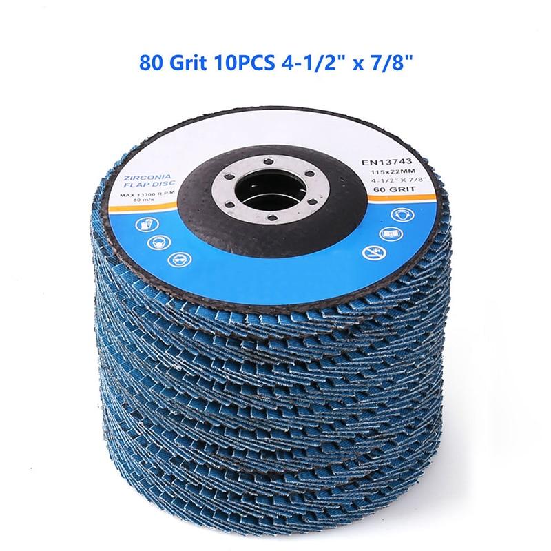 10 x Abrasive 4.5'' 115MM Metal Sanding Flap Discs Angle Grinder Wheels 80 Grit цены
