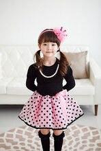 2016 Christmas Baby Dresses Girls Princess Polka Dot Plaid Long Sleeve Party Full Fancy Dress