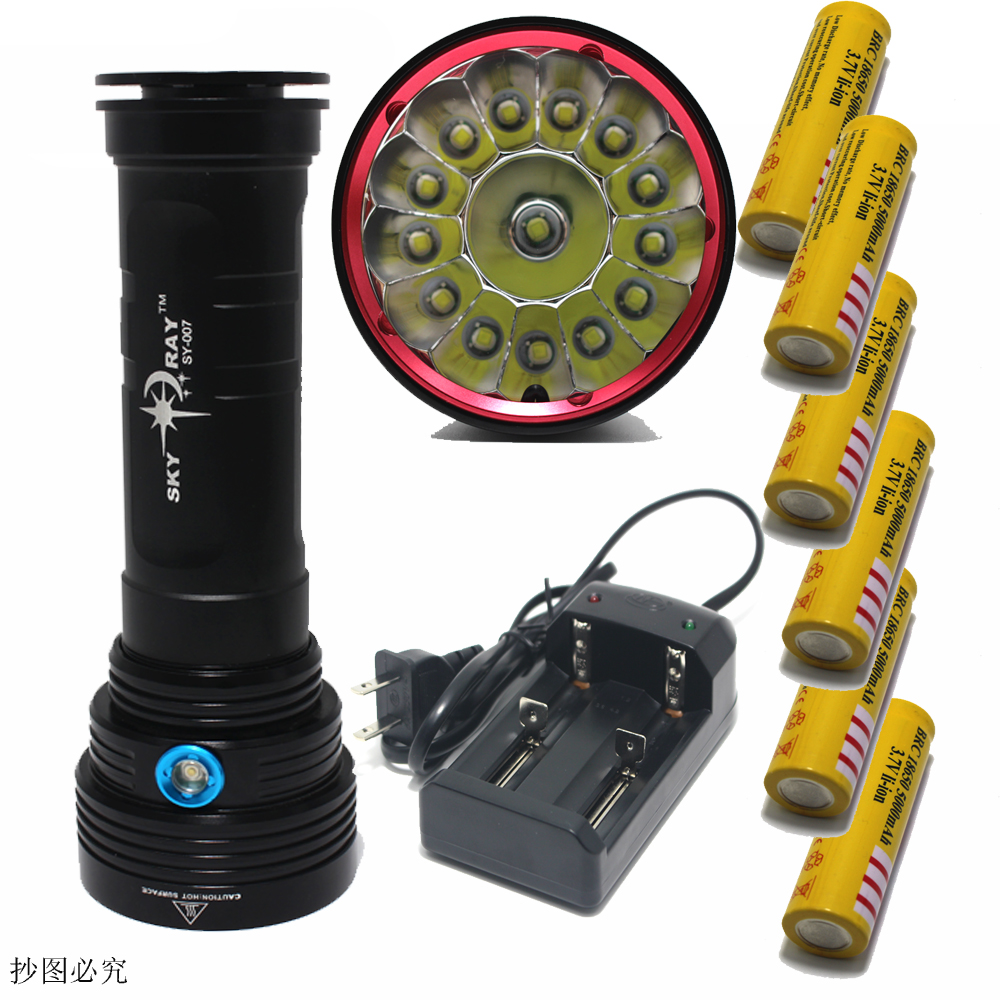 25000 Lumens SKY RAY 14xT6 14xCree XM-L T6  3-Mode LED Flashlight Torch Lamp big power 6X18650 Rechargeable Battery + charger товар velosite 25000 рублей
