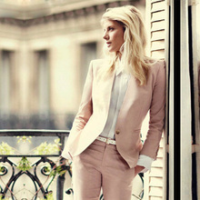 CUSTOM light pink 2018 fashion womens business suits 2 piece blazer