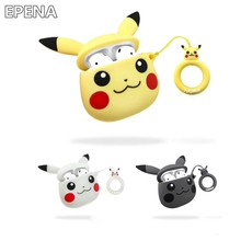 Funda de auriculares Pikachue bonita para Apple AirPods fundas de auriculares inalámbricos Bluetooth para Airpods2 funda protectora Dropshipping(China)