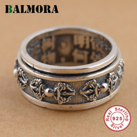 BALMORA 100 Real 925 Sterling Silver Buddhist Cross Rings For Women Men Thai Silver Rotated Ring