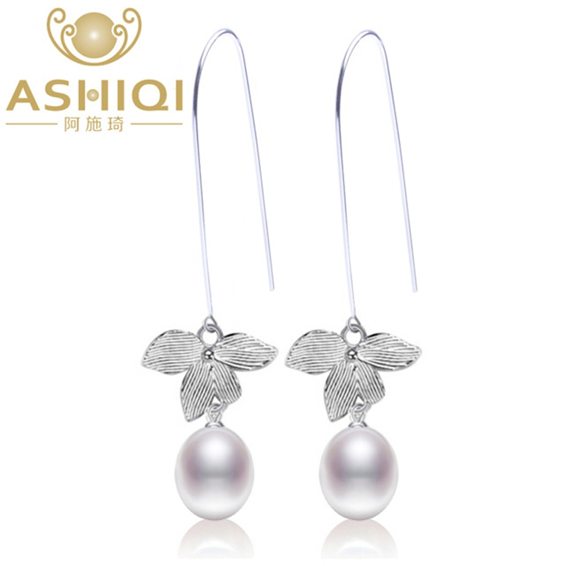 ASHIQI 925 sterling silver flower Earrings Natural Freshwater Pearl drop Earrings Fine jewelry for Women giftASHIQI 925 sterling silver flower Earrings Natural Freshwater Pearl drop Earrings Fine jewelry for Women gift