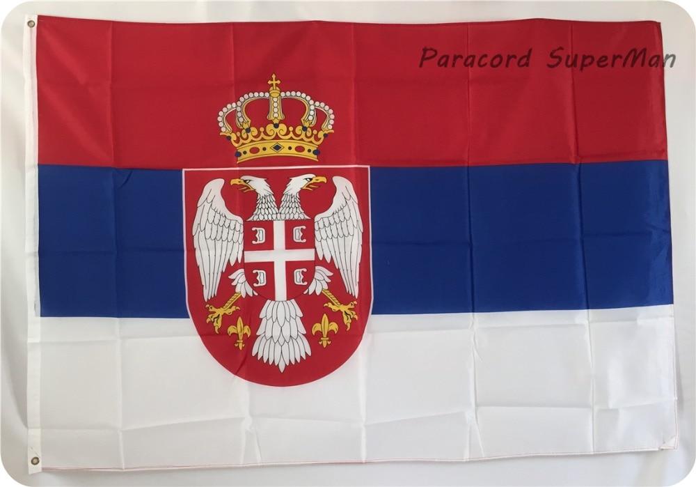 SRB SERBIAN FLAG pankartı 3ft x 5ft asma Bayraq Polyester SERBIA - Komanda idman növləri - Fotoqrafiya 2