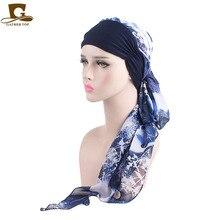 Novas Mulheres da moda Trecho Muçulmano Chapéu Turbante Quimio Headwraps  Headwear Cabeça Cabelo Longo Lenço Câncer 8689411b0bb