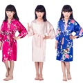 H16811 Summer High quality Satin Children Kimono Robes Bridesmaid Flower Girl Dress Silk children's bathrobe Nightgown Kimono