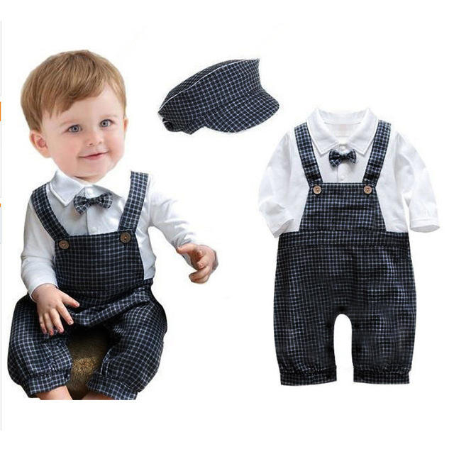 Newborn Baby Boy Rompers Handsome Plaid Tie Strap Baby Clothing Spring Clothes For New Born Baby Boy Infant Costume Free Hat