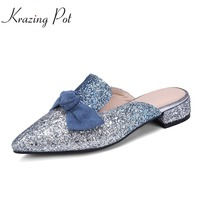 Krazing Pot Sweet Shopping Gradient Color Pointed Toe Women Shoes Slip On Fashion Bowtie Low Heels
