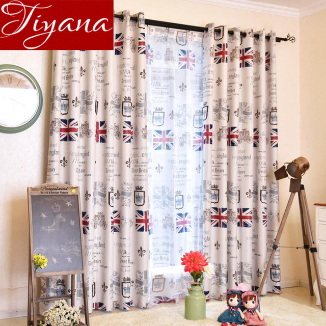 Kids Curtains Cartoon Printed Sheer Voile UK Flag Photo Modern Living Room Bedroom Window