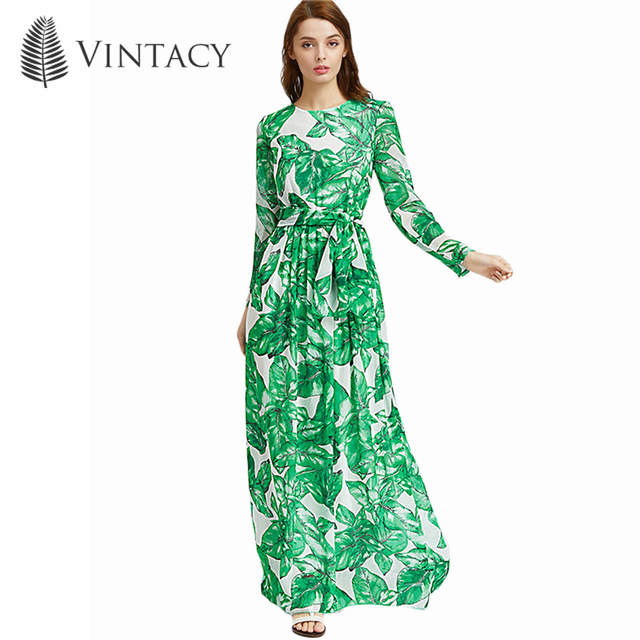 2018 Autumn Women Maxi Dress Green Tropical Print Long Sleeve Sashes Dress  Fashion Big Size Vacation 37ddef701011