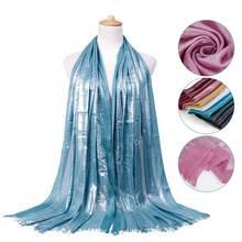 Блестящие хлопковые шарфы с кисточками серебряные повязка на
