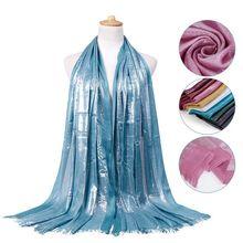 Glitter ผ้าฝ้ายพู่ผ้าพันคอ Sliver Wraps Headband เหนียว Hijabs มุสลิมผู้หญิงยาวผ้าคลุมไหล่ Maxi Turban Headscarf 180x63 ซม.