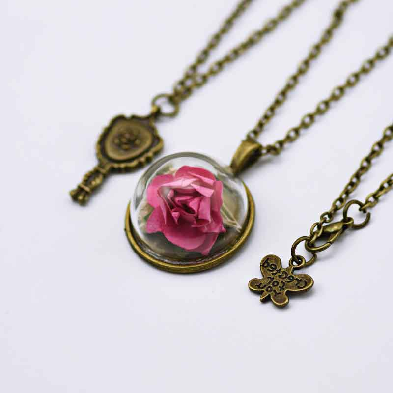 Red Rose Glass Dried Flower Necklace Jewelry Valentine S