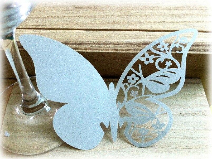 Вырезанные лазером бабочки стеклянная чашка Эскорт карты, Свадебная вечеринка winglass Кубок украшения бумажные место карты, 200 шт