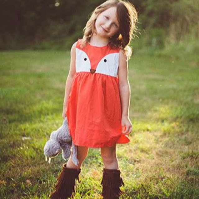 Children Sleeveless Dress Casual Baby Girls Child Toddler Kid Fox ...