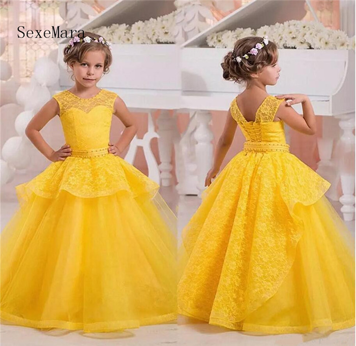Princess Yellow Flower Girl Dresses Lace Kids Christmas Evening Dress Ball Gown Pageant Dress Communion Dresses