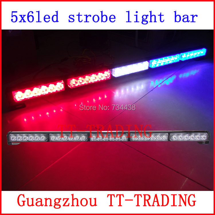 Car Strobe Light bar 30 LED Flash lights Police warning Lights emergency strobe lights DC 12V 75CM 29inch red blue white amber цена и фото