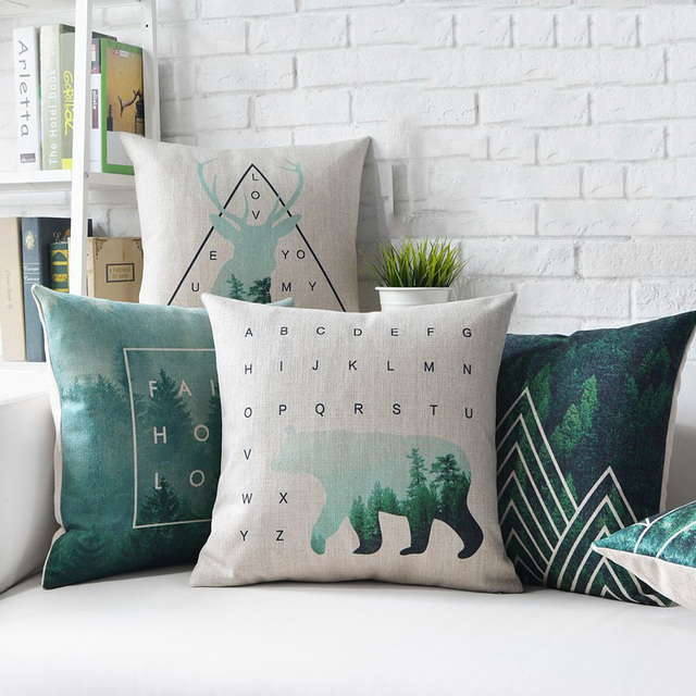 Nordic Style Decorative Throw Pillows Case Deer Green Geometric Cushion  Cover Home Decor Couch Linen Pillowcase