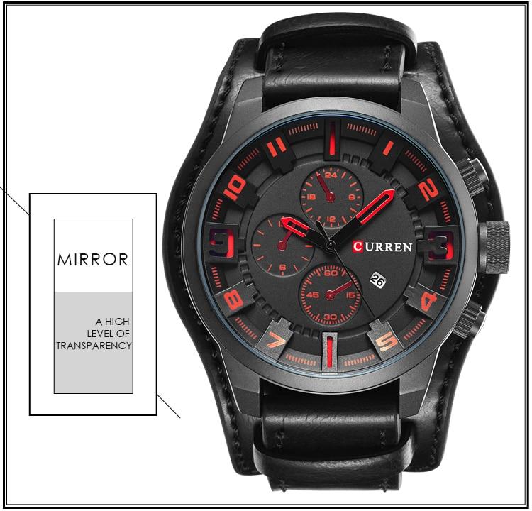 HTB1SyDSb6fguuRjSspaq6yXVXXaQ CURREN Top Brand Luxury Mens Watches Male Clocks Date Sport Military Clock Leather Strap Quartz Business Men Watch Gift 8225