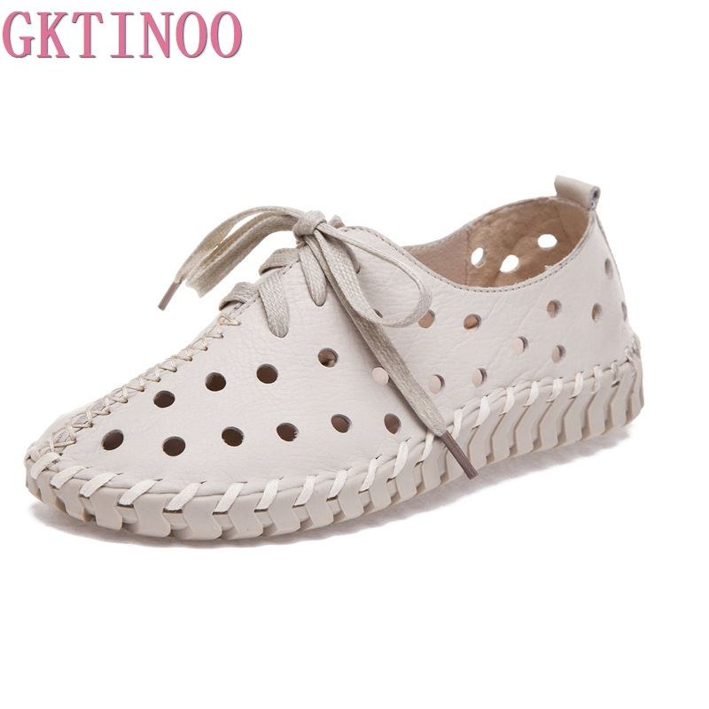 GKTINOO Summer Spring Hollow Outs Genuine Leather Shoes Women 2019 New Fashion Lace Up Women s