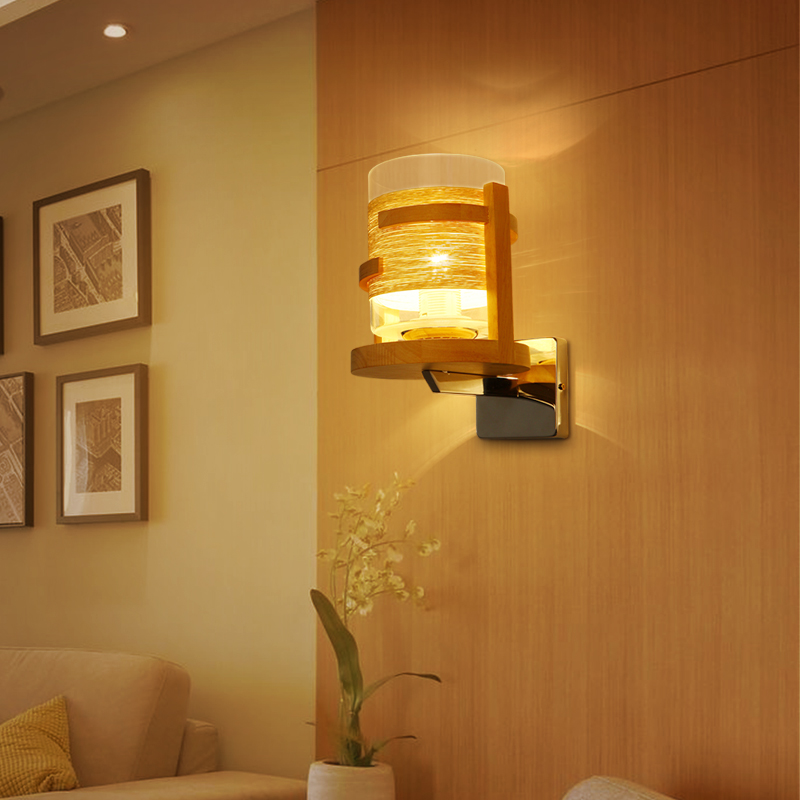 Bedside Wooden wall lamp American Style Wall Light bedroom wall lamp bedside lamps Corridor lights solid wood Wall Sconce Lights modern wooden led wall lamp bed room bedside natural solid wood white glass bedroom bedside aisle corridor entrance wall sconce
