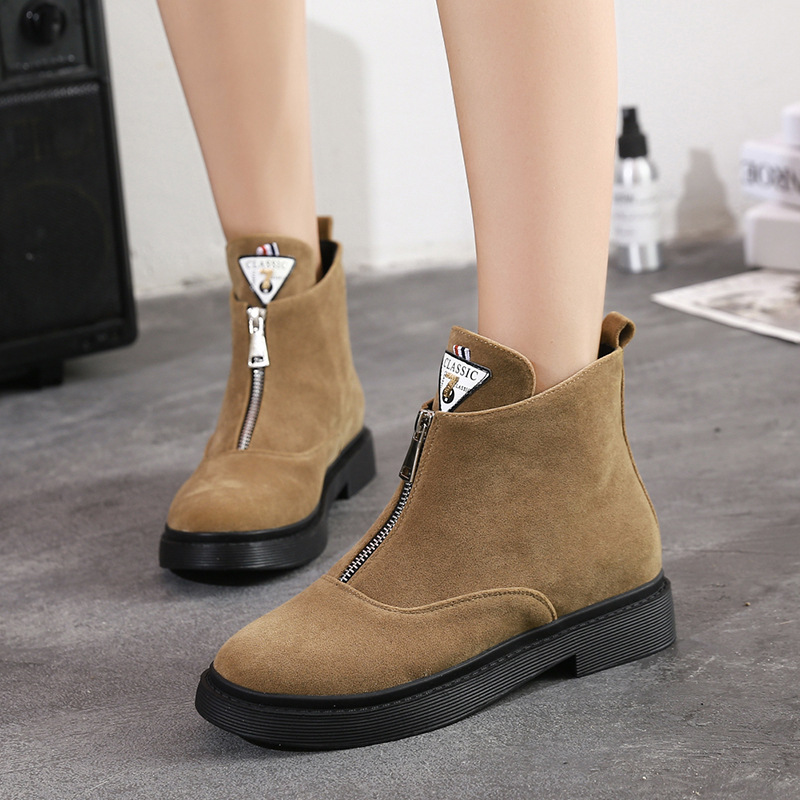 Women Shoes Autumn Winter 2018 Fashion Women Flock Ankle Boots Zipper Female Flat Shoes Ladies Flats Botas Mujer Martin Boots (9)