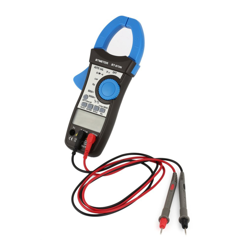 Digital Clamp Multimeter AC/DC BT-870N Auto Cal Current Clamp Meter Induction Voltage Capacitance Frequency Tester auto digital clamp meter mastech ms2108a pincers ac dc current voltage capacitor resistance tester aimometer multimeter amper