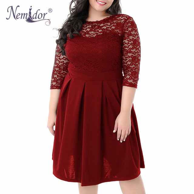 Women Vintage 3/4 Sleeve Casual Lace Top Overlay A-line Dress O-neck Plus Size 8XL 9XL V-low Back Party Midi Swing Dress 3