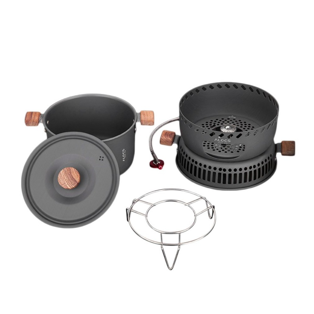 Alocs CW-C33 Stove Pot Outdoor Cooking Tool Wind Proof Gas Stove Camping Pot Picnic Supplies Portable Cookware Set 2-4 Persons alocs cs b05 aluminum alloy 9 piece wind screen windshield stove fender board for outdoor camping season serial