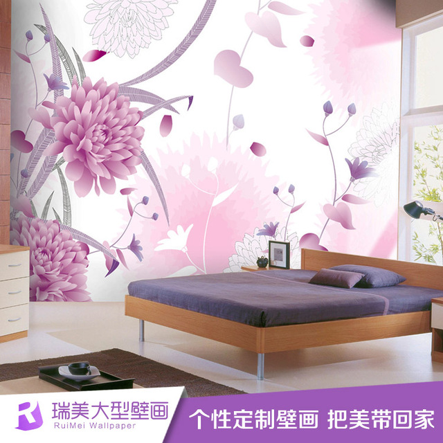 Pink floral pattern wallpaper . living room sofa TV background mural ...
