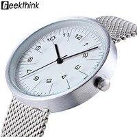 GEEKTHINK Fashion Quartz Watch Men Luxury Casual Black JAPAN Analog Men Stainless Steel Mesh Classic Clock