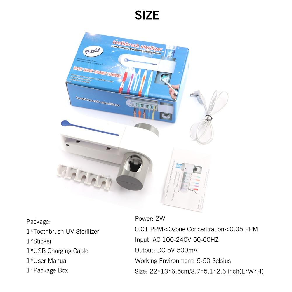 Antibacterial UV Light Ultraviolet Toothbrush Sterilizer Automatic Toothpaste Dispenser Tooth Brush Holder 5