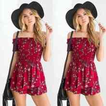 Summer Women Ladies Casual Floral Off Shoulder Short Sleeve Playsuit Party Jumpsuit Romper Shorts