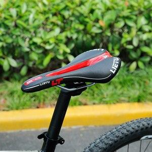 Image 5 - Lietu Neue Fahrrad Sattel Ergonomische MTB Rennrad Perforierten Sitz Schaumstoff Gepolsterte PU Leder Textur Stahl Schiene Zyklus Zubehör