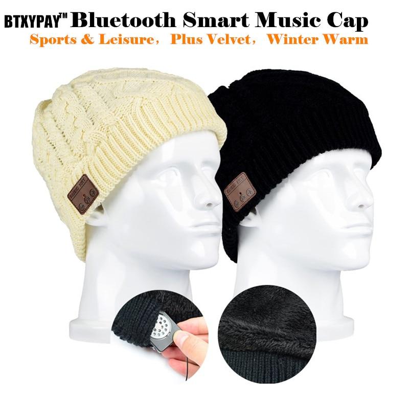 Wireless Bluetooth Beanie Knitted Cap Plus Velvet Winter Sporting Earphone Hat,for iPhone Smart phone Mic Hand-free Magic Music