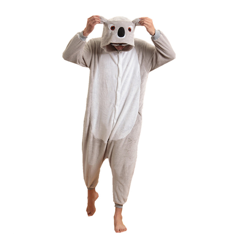 მოზრდილ ფლანელ Kigurumi Animal Cosplay კოსტუმი რუხი Koala Onesie Pajamas for Halloween Carnival Masquerade Christmas Party