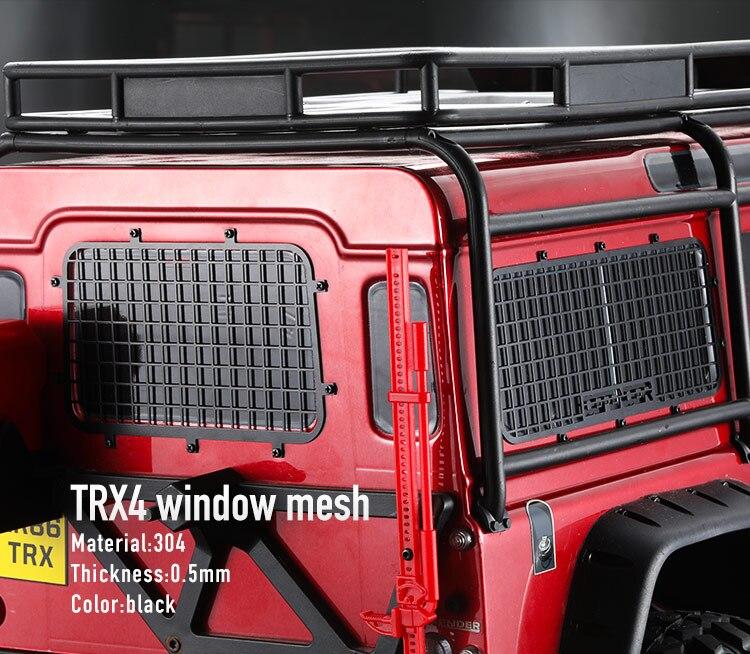 Livraison gratuite DC 1:10 maille de fenêtre en acier inoxydable filet de protection pour Traxxas TRX 4 TRX-4 TRX4 D90 1/10 voiture rc sur chenilles