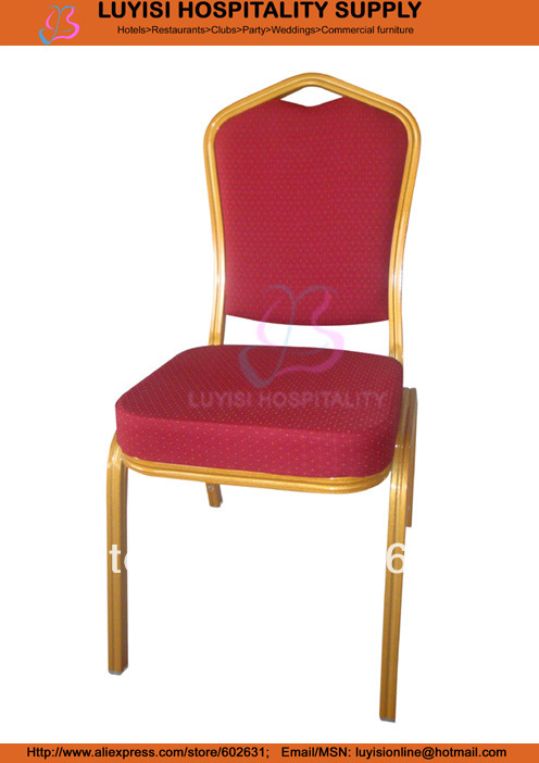 painted Aluminum frame padded Hotel chair gold aluminum hotel chair
