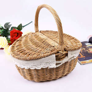 Picnic Basket Handle Hamper Willow White-Liner Wicker Carrying-Food Outdoor with Lid