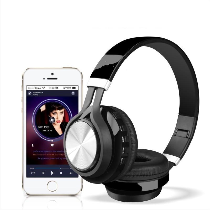 VirWir Portable Wireless Headphones Bluetooth Foldable Headset Audio Mp3 Adjustable Earphones with Mic for Music phones