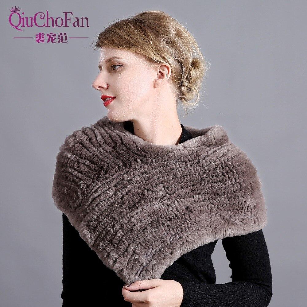 Women Handmade Stretch 100 Real Rex Fur Scarf Knit Genuine Rex Rabbit Fur Shawl Women Real