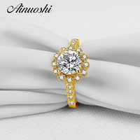 AINUOSHI Solid 14K Yellow Gold Round Halo Ring Pave Setting 2 CT Round SONA Simulated Diamond Wedding Engagement Ring For Women