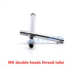 M6 both sides iron threaded tube Male thread pipe for retro chandeliers ceiling rose two sides screw tube lighting accessories(China)