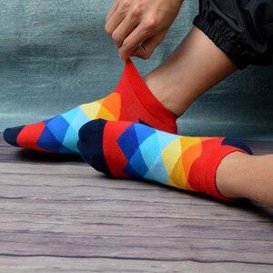 Image 3 - SANZETTI 12 זוגות\חבילה גברים מקרית קיץ קרסול גרבי צבעוני שמח מצחיק מסורק כותנה פסים חידוש היפ הופ Tendy קצר גרביים