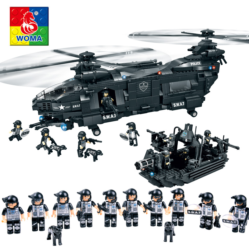 Military Series Police Building Blocks Child Assembled City Aircraft Boy Toy Compatible Legoe police pl 12921jsb 02m