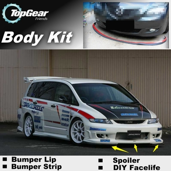 For HONDA For Odyssey Lagreat Bumper Lip  Top Gear Front Spoiler For Car Tuning  TOPGEAR Body Kit + Strip Skirt honda odyssey