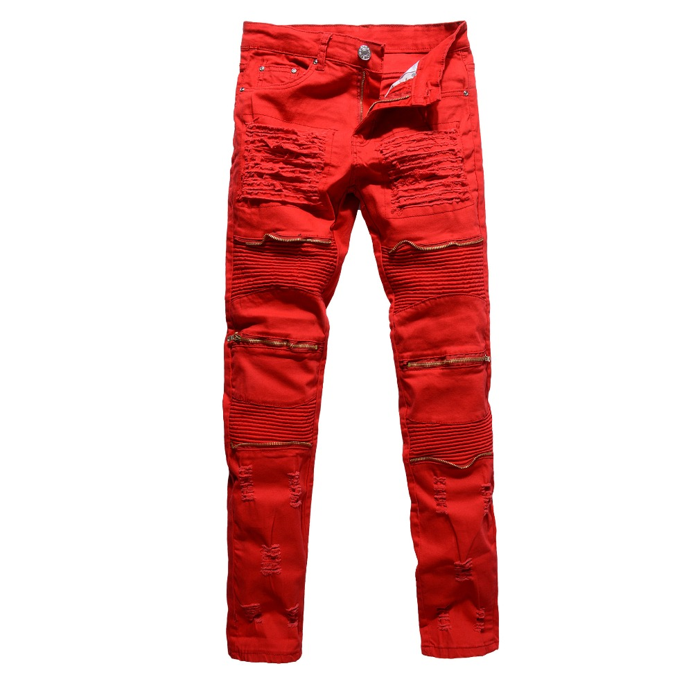 Wholesale 2019 Fashion red/white/black denim   Jeans   men three Zipper thigh Pleated show thin nightclub dance street hip hop pants