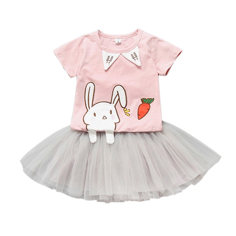 Фото Summer Baby Cloth Sets Cartoon Rabbit Print Short Sleeve T Shirts +TuTu Skirts 0-5Y Baby Girls Clothing Set New Arrival