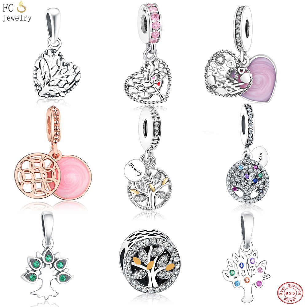 FC Jewelry Fit Pandora Charms Bracelet 925 Sterling Silver Family Enamel Tree of life Mix Crystal Bead Necklace Pendant Berloque