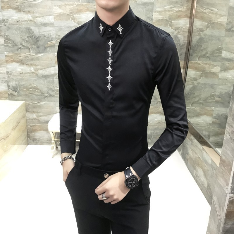 Broderie col chemise aveugle Placket hommes chemise à manches longues Slim Fit mode coréenne robe chemise hommes Camisa mode Masculina - 4